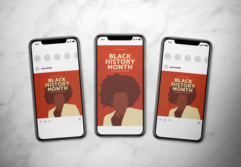 Black History Month Social Media Post Layout Set with Silhouetted Illustration