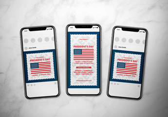 President's Day Social Media Post Layout Set with Flag Illustration