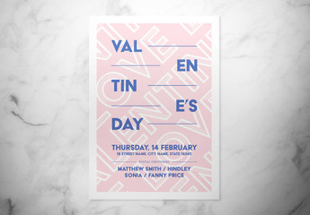 Valentine's Day Event Flyer Layout with Pink and Blue Text Elements