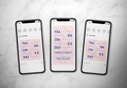 Valentine's Day Social Media Post Layout Set Pink and Blue Text Elements