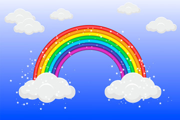 Poster Regenboog Rainbow in the sky with clouds and stars. Vector illustration