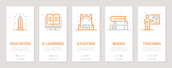 Education realted vertical cards. Mobile app onboarding screens Templates for a website. Icons with editable stroke