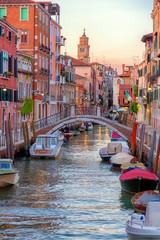Foto op Canvas Venice Romantic canal in center of Venice.Beautiful and romantic streets of Venice, Beautiful photos of Venice.