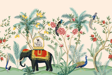 Vintage indian floral palm tree, plant, elephant animal, peacock bird seamless border pink background. Exotic oriental wallpaper. Fotomurales