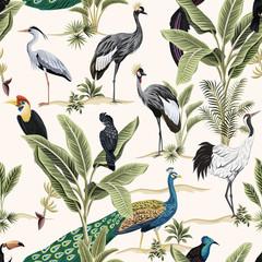 Tropical botanical crane, black parrot, toucan, peacock, heron bird floral green banana tree, plant seamless pattern light background. Exotic jungle wallpaper.