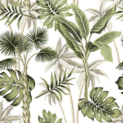 Fototapeta Tropical vintage botanical landscape, palm tree, palm leaves floral seamless pattern white background. Exotic jungle wallpaper.
