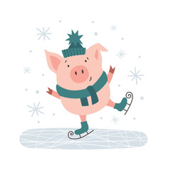 Cute pig in hat skating flat illustration. Funny picture design with charming pet. Winter wonderland and happy holidays. Template for poster, banner, invitation, greeting card on isolated background.