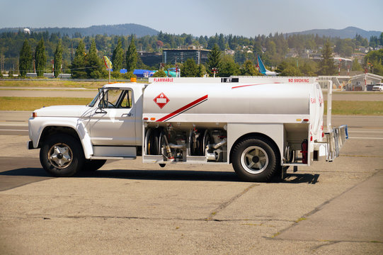 Tanker car at the airport. Preparation for refueling aircraft.