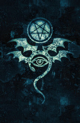 EVIL EYE (The Greatest Malefic). The Diabolic eerie damn. Evil in its pure form. Mystical Symbol of Black Magic, Occult Emblem of Witchcraft and Sign of Necromancy.