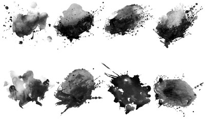 Beautiful black watercolor splash brushes. Set of black brushes