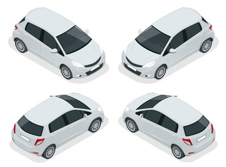 Isometric Subcompact Hatchback Car high quality city vehicle. Urban transport. Eco-friendly hi-tech auto. Template isolated on white View side.
