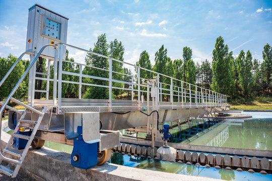 Modern wastewater and sewage treatment plant with aeration tanks.
