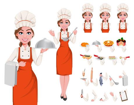 Beautiful young chef woman