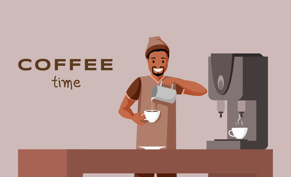 Coffee time flat banner vector template. Barista profession, coffee shop, cafe advertising poster concept. Young african american man making delicious drink illustration with typography