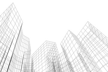 Abstract architectural background. Linear 3D illustration. Concept sketch