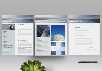 Blue Architecture Resume Layout