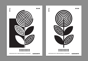 Black and White Art Poster Layout with Geometric Flower Background