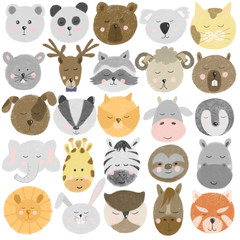 Collection of hand drawn cute animal faces (bear,deer, panda, raccoon, zebra, bunny, sloth, horse, cat, dog etc), hand drawn isolated on a white background