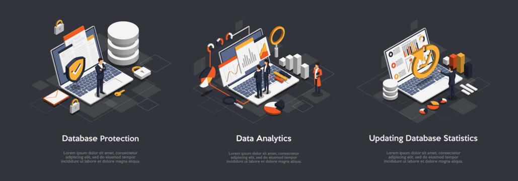 Isometric Set of Business Database Protection, Data Analytics, Updating Database Statistics. Professional VIP Isometric Vector Illustration