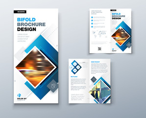 Bi fold brochure design with square shapes, corporate business template for bi fold flyer. Creative concept folded flyer or bifold brochure.