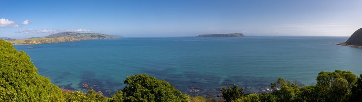 Panoramic shot of the ocean and the mountains captured in the suburbs of Wellington, New Zealand