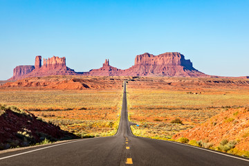 Photo on textile frame Route 66 Scenic Road leading to Monument Valley