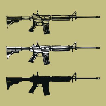 m4 assault rifle gun leathal weapon black and white vector art