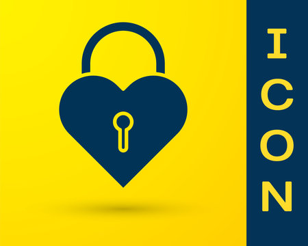 Blue Castle in the shape of a heart icon isolated on yellow background. Locked Heart. Love symbol and keyhole sign. Vector Illustration