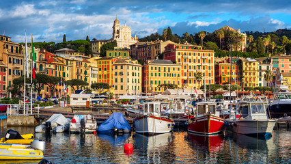 Santa Margherita Ligure port and Old town, Rapallo, Genoa, Italy