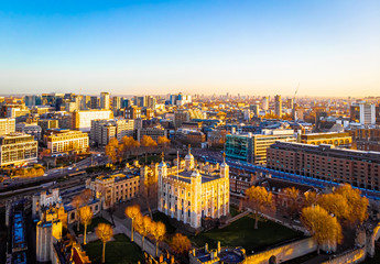 Aerial view of Tower of London in the sunny morning, London