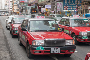 Many Red Taxis in Hong Kong