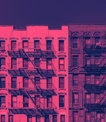 Acrylic Prints New York Fire escapes on the exterior of old buildings in New York City in pink and blue color