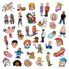 cartoon vector illustration of a random people collection