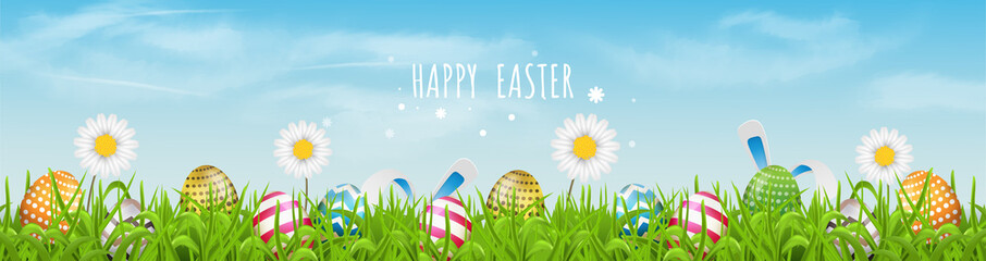 Colorful Easter eggs  line pattern  and spring flowers in grass with beautiful sky. Happy Easter vector background or banner.