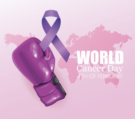 world cancer day poster with glove boxing and ribbon