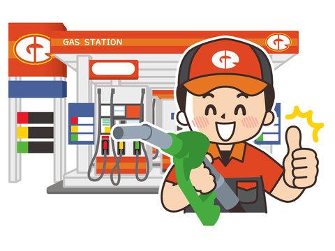 ガソリンスタンドの男性スタッフと店舗