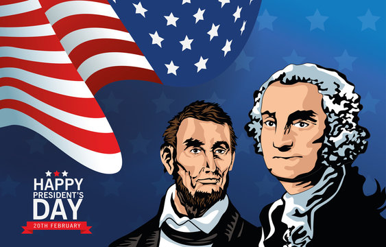 happy presidents day poster with lincoln and washington