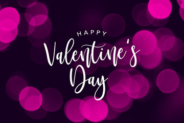 Wall Mural - Happy Valentine's Day Holiday Text Over Pink Bokeh Lights Background
