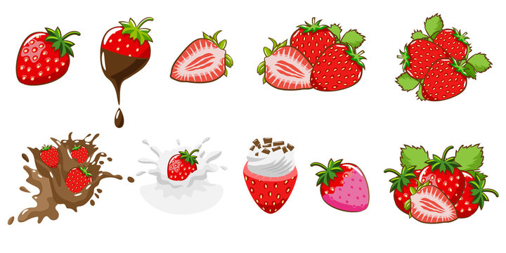 Strawberry vector set collection graphic clipart design