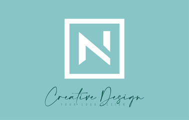 N Letter Icon Design With Creative Modern Look and Teal Background.