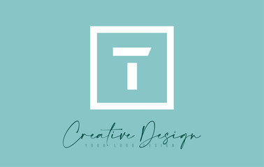 T Letter Icon Design With Creative Modern Look and Teal Background.