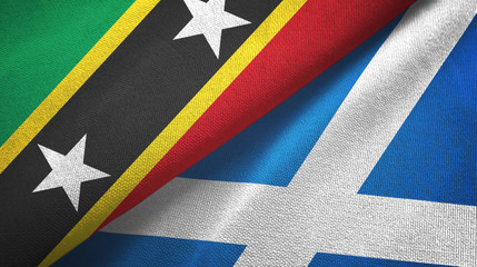 Saint Kitts and Nevis and Scotland two flags textile cloth, fabric texture