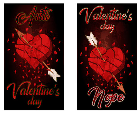 Anti valentines day two banners broken heart, vector illustration