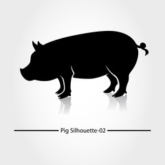 Pig with black shadow and blank. This silhouette suitable for icon, symbol, businesses, product pic, restaurants serving pork dishes, or can also be used for pig farming business.