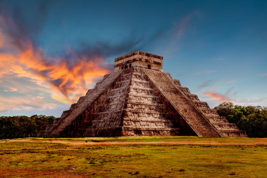 Sunset Over Kukulcan Pyramid at Chichen Itza, Mexico