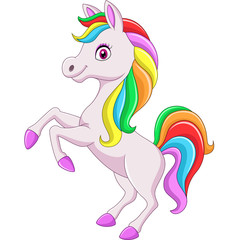 Cartoon rainbow horse isolated on white background