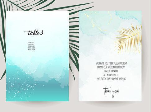 Tropical elegant wedding invitations.
