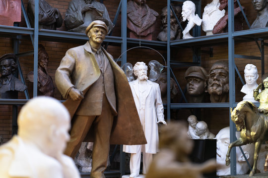 Minsk, Belarus. January, 2019. Sculptures in the museums of the famous Soviet sculptor Azgur. Figures and statues of popular Soviet politicians: Lenin, Stalin. Heroes of fairy tales.