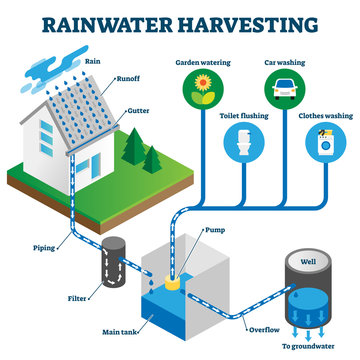 Rainwater harvesting system isometric diagram