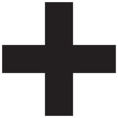 Isolated medical cross icon on white background. Flat black medical cross icon for use in variety of projects. Monochrome vector medical cross icon for web sites and apps
